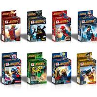 Wholesale Plastic Blocks For Babies - 8Pc Set Super Heroes The Avengers Iron Man Superman Minifigures Building Blocks Sets Baby Figure Brick Toys For Children Gift Retail Box