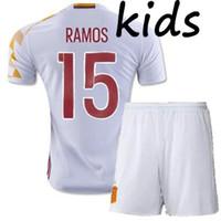 Wholesale Spain Soccer Jersey Kids - 2016 2017 Espana Camiseta de futbol Kids Spain kids Soccer Jersey 2016 Sergio SILVA Ramos FABREGAS INIESTA youth Equipacion Futbol