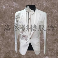 Wholesale Type Male Costumes - Wholesale-Club male singer han edition cultivate ones morality type stage costumes fashion leisure England star small suit city boy jacket