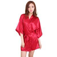 5872836641 Wholesale- Silk Satin Evening Dress Sexy Lingerie Bathrobe Women Underwear  Pajamas Bridesmaid Floral Short Kimono Robe Bath Dressing Gown