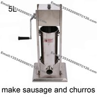 Wholesale Sausage Machines - Free Shipping Commercial Use 5L Stainless Steel Hand Crank Vertiacal Sausage Stuffer and Churros Maker Machine