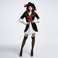 Wholesale White Pirate Costume - New Arrival Adult Luxury Black White Women Pirate Dress Sexy Cosplay Halloween Costumes Uniform Temptation Stage Performance Clothing