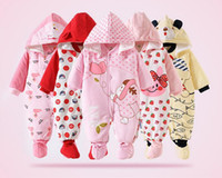 Wholesale Quilted Jumpsuits - Hot New Baby Romper Girl Clothes Cotton Flannel Quilted Jumpsuit Cartoon Cute Animal Rompers Baby Clothing