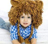 Wholesale Kids Hip Hop Accessories - Autumn Winter Baby Boys Hip Hop Lion Hat Kids Funny Knitted Caps Tassels Braided Hair Handmade Knitting Hats Children Accessory