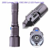 Wholesale Wholesale Portable Charging Device - Rechargeable CREE XML L2 Flash Light 2000 Lumens USB Flashlight Led 18650 Battery Lamp For Camping Working charge USB device Torch light