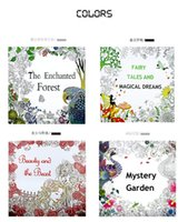 Wholesale Design Coloring Books - New 4 Design The Enchanted Forest Coloring Book Children Adult Relieve Stress Kill Time Graffiti Painting Drawing Book 48 pages
