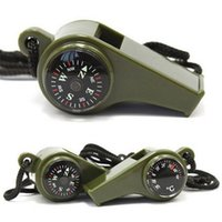 3 in1 Camping Hiking Emergency Survival Gear Whistle Compass Thermometer Outdoor Need ArmyGreen Color