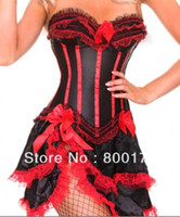 Wholesale Fancy Bodysuits - Wholesale-free shipping 8068-7009 Burlesque Red Stripe Corset & skirt Fancy dress outfit Hen costume corset dress