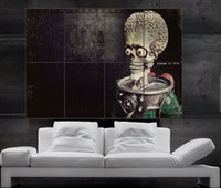 Wholesale Alien Wall - Mars Attacks alien movie Poster print wall art 8 parts Poster print art huge picture photo free shipping No314