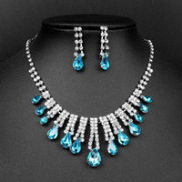 Wholesale Settings For Jewellry - Crystal Bule Wedding Bridal Earring Necklace 2pcs jewellry set For kids girls Women high quality handwork
