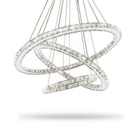 Wholesale Aluminum Ring Size - 2017 Hot Selling Hot sale Crystal Diamond Ring LED Crystal Chandelier Light Modern Crystal Pendant Lamp 3 Circles different size position