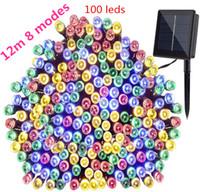 tubos de imersão venda por atacado-8 modos de Lâmpadas LED LEVARAM Luzes Da Corda 12 m 100 LEDS Ao Ar Livre Fada Festa de Natal Do Feriado Guirlandas Solar Gramado Jardim Luzes À Prova D 'Água