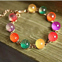 Colorful Candy Pulsera Crystal Colorful Beads Crystal Pulsera Beads Crystal Pulsera Glass Link Chain Pulseras Brazaletes