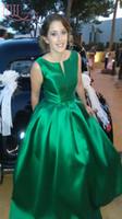 Wholesale Unique Bandage Dresses - Elegant Cheap Green Evening Gowns In Stock Unique Design Draped Satin Formal Women Formal Prom Dresses Evening Wear Long