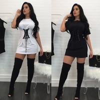 siyah beyaz yakalı elbise toptan satış-2017 moda kadın tops katı siyah beyaz yuvarlak yaka bel bandı kısa kollu t gömlek pamuk line dress ücretsiz kargo