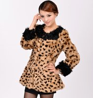 Wholesale Leopard Fur Coat Rabbit - Wholesale-lamb fur collar female medium-long full leather o-neck 100% real genuine women Leopard rabbit fur coat jacket fur outweart