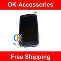 Wholesale I747 Digitizer Blue - LCD Display Touch Digitizer Screen Panels Full Assembly With Frame Blue White For 4.7 inch Samsung Galaxy S3 i9300 i9305 i747 i535
