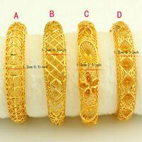 Wholesale 24k Gold Wedding Bangles - New Arrival Dubai Gold Bangles Women Men 24k Gold Color Bangles&Bracelet African Ethiopian Arab Kenya Middle East Wedding Gifts