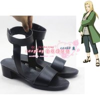 Wholesale Tsunade Naruto Cosplay Costume - Wholesale-Naruto Tsunade Ninja Village Black Cosplay Shoes Boots Cosplay Boots shoes #cos0109 Halloween Christmas festival