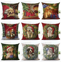 Wholesale Reindeer Decor - Christmas Pillow Case Xmas Pillow Cover Reindeer Elk Throw Cushion Cover Sofa Nap Cushion Covers Santa Claus Home Decor 45*45cm KKA2484
