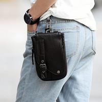 Wholesale Leather Waist Pouches Mens - Locomotive Design High Quality PU Leather Mens Waist Bag Travel Fanny Pack Belt Loops Hip Bum Bag Wallet Purses Phone Pouch