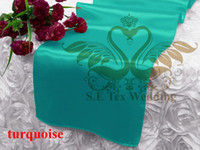 Wholesale Turquoise Satin Runners - Turquoise Color Satin Runner For Table Cloth Banquet Wedding Runner