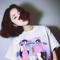 Wholesale Korea Top Tee - Wholesale- Tee Shirt Femme 2017 New Summer New TShirt Korea Ulzzang Harajuku Printed Women O neck T-Shirts Casual Loose Short Sleeve Tops