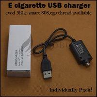 Wholesale Smart T V - Individually Paper pack usb charger evod 510 ego e smart 808D-1 thread usb chargers for evod ego-t ago-v e-smart 510 esmart 808 battery