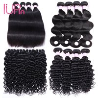 Wholesale Curly Ombre Hair - Brazilian Virgin Hair Straight 4 Bundles Peruvian Water Wave Malaysian Body Wave Indian Deep Wave Curly Human Hair Bundles Hair Extensions