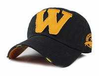 Wholesale custom embroidery snapback hats - Cotton Embroidery Letter W Baseball Cap Snapback Caps Bone Sports Hat Distressed Wearing Style Outdoor Hat For Men Custom Hats