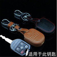 Ford black ford edge - Car Genuine Leather Remote Control Car Keychain Key Cover Case For Ford F Edge Buttons Transponder Key L215