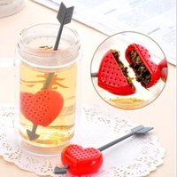ingrosso erbe aromatiche-New Tea Strainers Romantic Cupid Arrow Love Heart Tea Infusore Herb Leaf Filter Strainer Agitatore bustina di tè Teiera Teacup Filter Bag