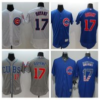 Billig Baseball Jerseys Chicago Cubs # 17 Kris Bryant Weiß Home Team Jersey authentischen Baseball kühlen Base Jerseys New metrial Jerseys