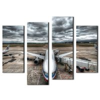 Wholesale Pictures Clouds - Vehicle Paintings Wall Art Passenger Jet Plane Flying Above Cloud 4 Panel Picture Print on Canvas for Modern Home Decor With Wooden Framed