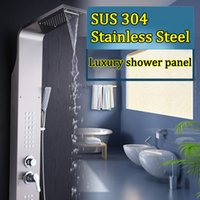 Wholesale Free Rain Suits - Free shipping Multi function Bathroom SPA Rain Shower Panel Suit Antique 304 Stainless Steel Burshed Waterfall Shower Head Faucet Set Retail