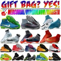 Wholesale High Ankle Shoes Mens - Mens High Ankle Tops Football Boots Mercurial Superfly CR7 V FG Soccer Shoes Neymar JR Phantom TF IC Indoor Magista Obra II Soccer Cleats