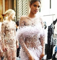 Wholesale Evening Dresses Kim Kardashian - Evening dress Yousef aljasmi Kim kardashian Long sleeve Feather Purple Crystals Long dress Almoda gianninaazar Kylie Jenner Zuhair murad
