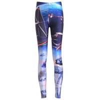 Wholesale Girls Galaxy Pants - 2017 NEW 3690 galaxy aircraft airship droid R2D2 Prints Sexy Girl Pencil Yoga Pants GYM Fitness Workout Polyester Women Leggings Plus Size
