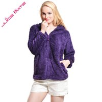 Wholesale Ladies Zip Jacket - Wholesale- Women Girls Plus Size Snuggle Fleece Blouse Zip Fluffy Warm Hooded Sweatshirt Hoodie Ladies Loose Sweatshirt Jacket With Hood