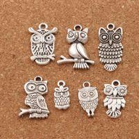 серебряные монеты оптовых-3D птица сова подвески подвески мода 100 шт./лот 7styles Тибетский Серебряный Fit браслеты ожерелье серьги ювелирные изделия DIY LM40