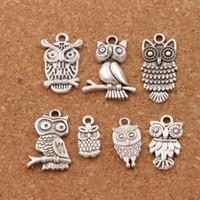 bilezik için kuş takılar toptan satış-3D Kuş Baykuş Charms Kolye Moda 100 adet / grup 7 stilleri Tibet Gümüş Fit Bilezikler Kolye Küpe Takı DIY LM40