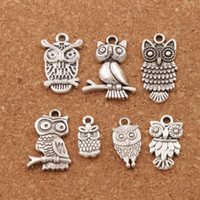 Wholesale Animals Pendants Bracelets - 3D Bird Owl Charms Pendants Fashion 100pcs lot 7styles Tibetan Silver Fit Bracelets Necklace Earrings Jewelry DIY LM40