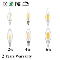 Wholesale Led Candelabra E12 - LED Bulb,C35 C35L E12 E14 Ses Candelabra Base 2 4 6W Dimmable COB LED Filament Flame Tip Vintage Candle Light Bulb