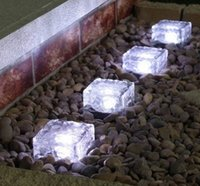 Wholesale Solar Ice Brick - LED Solar Ice Brick Stair Lamp 1 Bright LED Lawn Lights Glass + ABS Warm White  Blue  White  RGB Changeable Colors