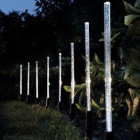 decoración led stick iluminación al por mayor-8pcs tubo de energía solar luces lámparas acrílico burbuja camino césped paisaje decoración jardín palo estaca luz lámpara conjunto