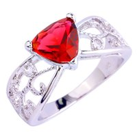 other spinel gems - Handmade Gems Jewelry Red Ruby Spinel K White Gold Plated Silver Fashion Ring Size