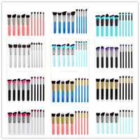 Wholesale 22 Makeup Brush Set - 10pcs Kabuki Makeup Brushes Set Tools Cosmetic Facial Makeup Brush Tools With Nylon Hair Makeup Top Quality 22 styles in stock