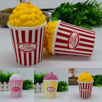 Wholesale Squeeze Cup - Popcorn Cup Squishy Perfume Slow Rising Decompression Phone Strap Charm Pendant Kawaii Squishies Popcorn Scented Squeeze Toys Gift DHL