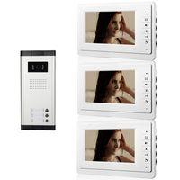 videos puerta teléfono ir al por mayor-Xinsilu Wired Apartment Videoportero de 7 pulgadas Sistema de intercomunicación audiovisual Cámara IR Videoportero de una a tres V70F-520C-3