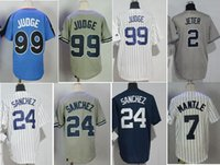 Wholesale Children Baseball - 2017 youth Jersey kids 2 Derek Jeter 24 Gary Sanchez 99 Aaron Judge 7 Mickey Mantle boy Children Baseball Jersey Stitched